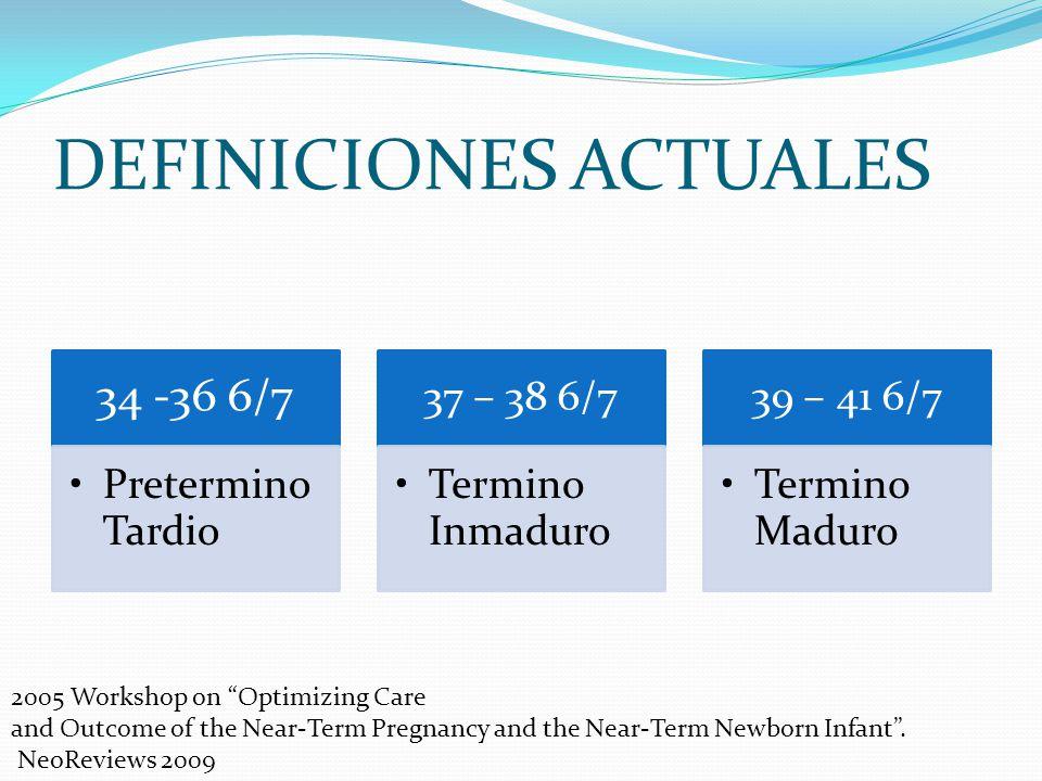 DEFINICIONES ACTUALES 34 -36 6/7 Pretermino Tardio 37 – 38 6/7 Termino Inmaduro 39 – 41 6/7 Termino Maduro 2005 Workshop on Optimizing Care and Outcom