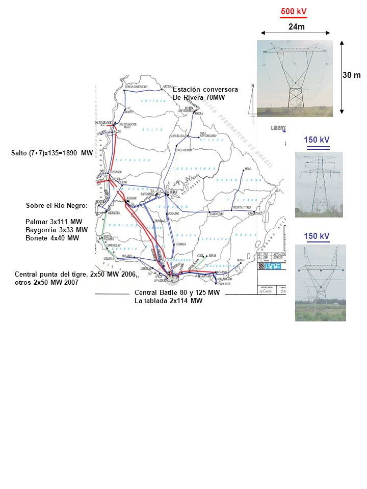 24m 30 m 500 kV 150 kV Central Batlle 80 y 125 MW La tablada 2x114 MW Salto (7+7)x135=1890 MW Sobre el Rio Negro: Palmar 3x111 MW Baygorria 3x33 MW Bo