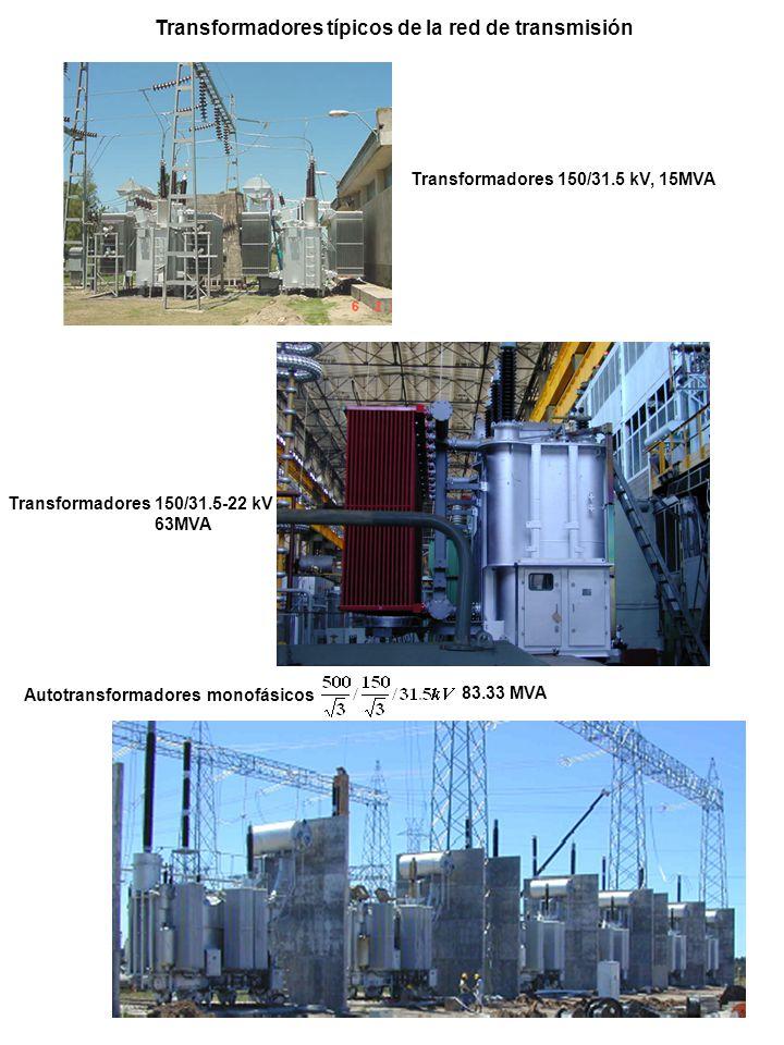 Transformadores 150/31.5 kV, 15MVA Transformadores 150/31.5-22 kV 63MVA Autotransformadores monofásicos 83.33 MVA Transformadores típicos de la red de