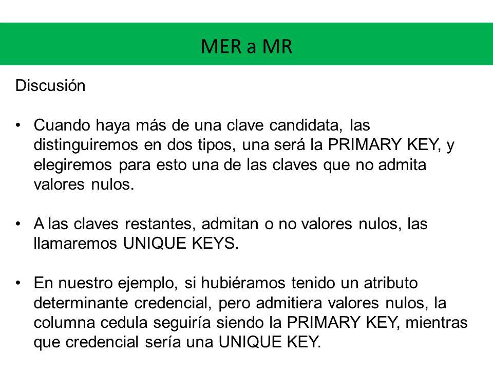 MER a MR Discusión Cuando haya más de una clave candidata, las distinguiremos en dos tipos, una será la PRIMARY KEY, y elegiremos para esto una de las claves que no admita valores nulos.