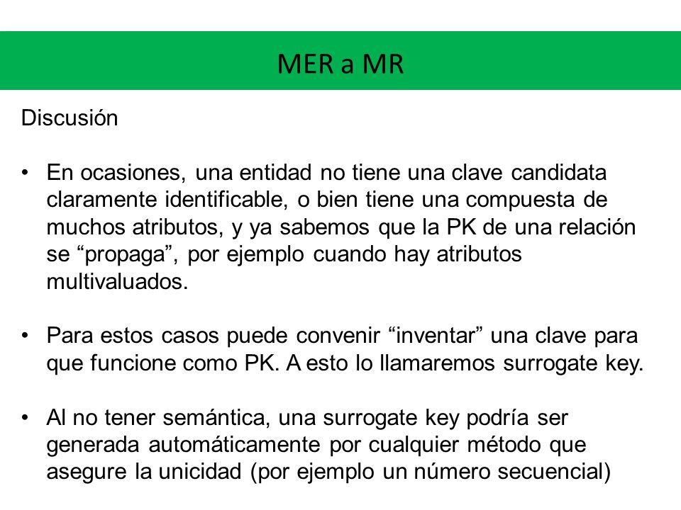 MER a MR Discusión En ocasiones, una entidad no tiene una clave candidata claramente identificable, o bien tiene una compuesta de muchos atributos, y ya sabemos que la PK de una relación se propaga, por ejemplo cuando hay atributos multivaluados.