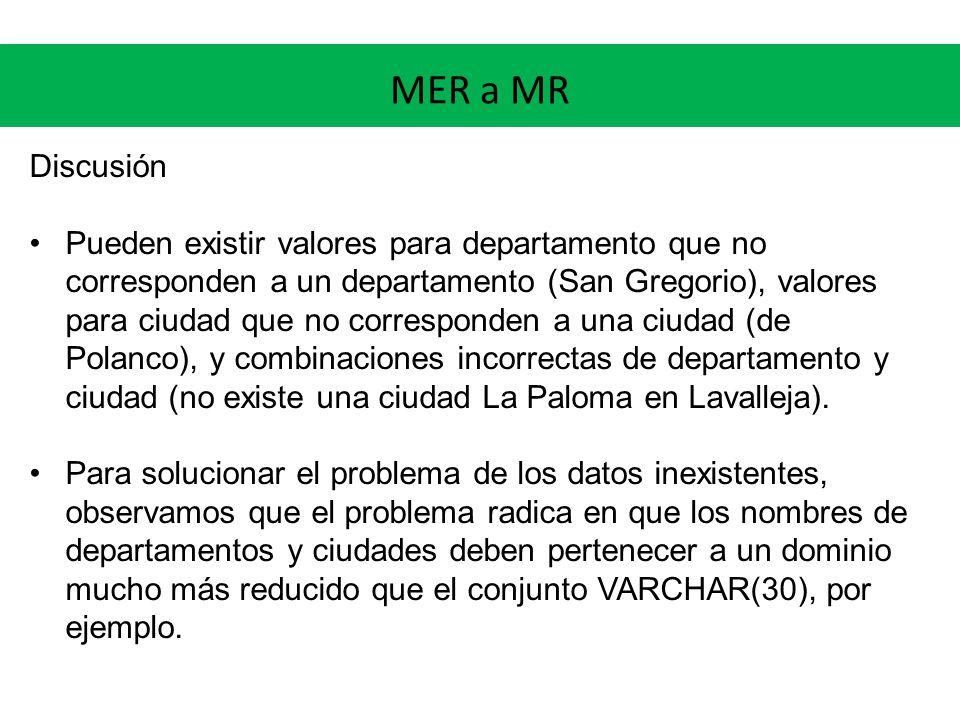 MER a MR Discusión Pueden existir valores para departamento que no corresponden a un departamento (San Gregorio), valores para ciudad que no corresponden a una ciudad (de Polanco), y combinaciones incorrectas de departamento y ciudad (no existe una ciudad La Paloma en Lavalleja).