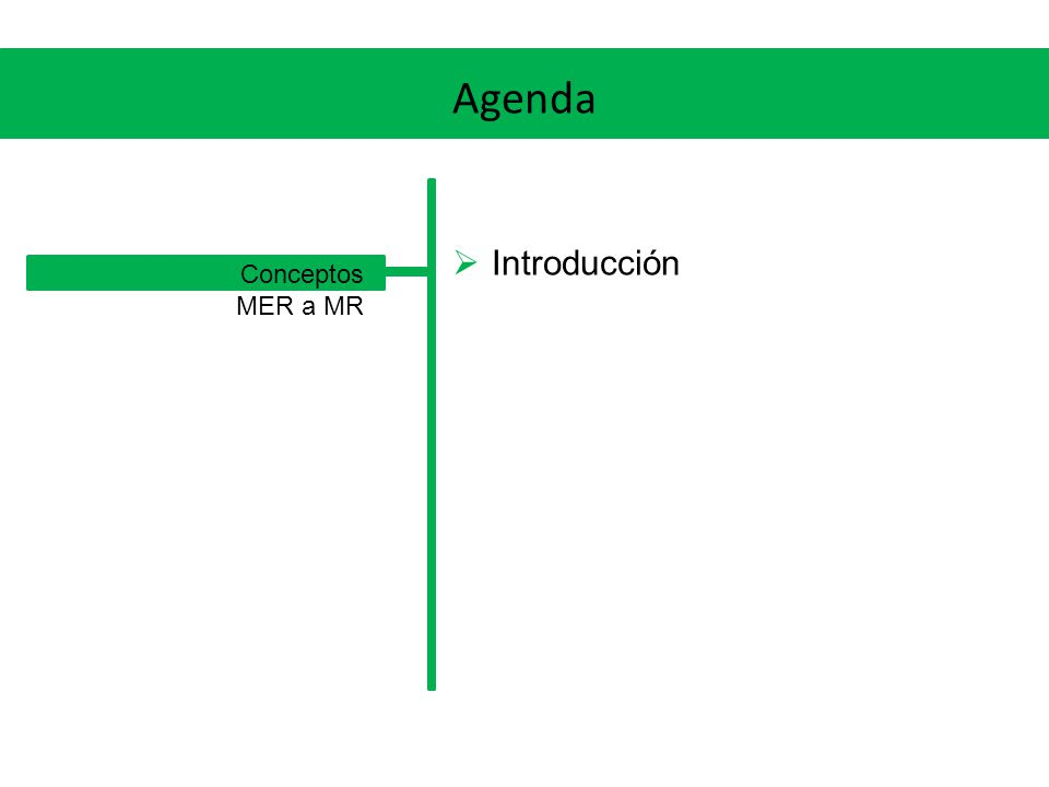MER a MR Relaciones n-arias (n > 2) Siempre se creará una nueva tabla Su clave será la unión de las claves de las entidades participantes de la relación (la excepción es cuando hay una cardinalidad 1, en ese caso, la clave será la que corresponde a la entidad del lado de la cardinalidad 1) Se definirán las correspondientes claves foráneas Sus agregarán los atributos de la relación, si los hubiera