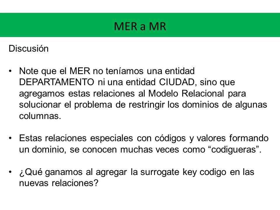 MER a MR Discusión Note que el MER no teníamos una entidad DEPARTAMENTO ni una entidad CIUDAD, sino que agregamos estas relaciones al Modelo Relacional para solucionar el problema de restringir los dominios de algunas columnas.