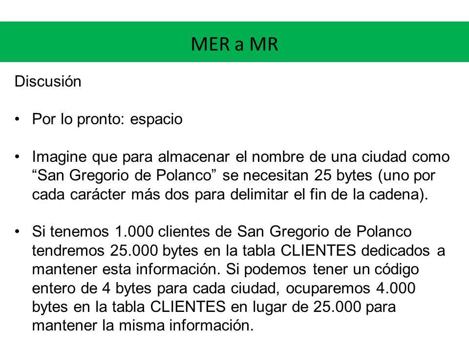 MER a MR Discusión Por lo pronto: espacio Imagine que para almacenar el nombre de una ciudad como San Gregorio de Polanco se necesitan 25 bytes (uno por cada carácter más dos para delimitar el fin de la cadena).