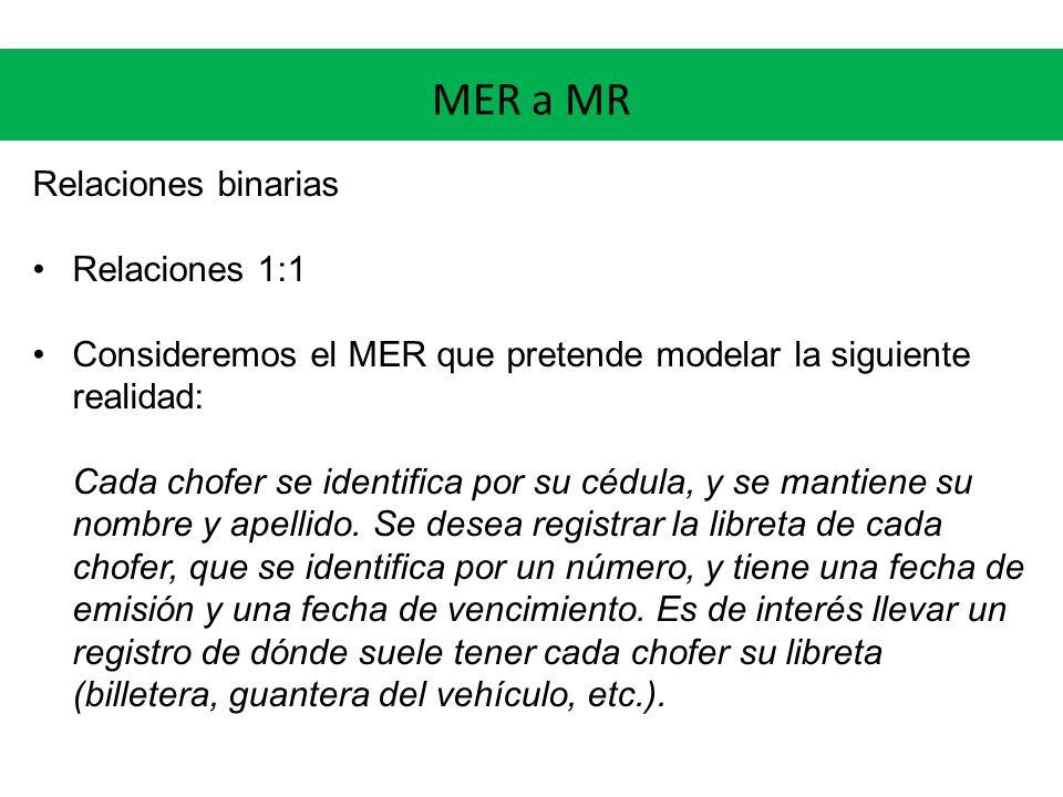 MER a MR Relaciones binarias Relaciones 1:1 Consideremos el MER que pretende modelar la siguiente realidad: Cada chofer se identifica por su cédula, y se mantiene su nombre y apellido.