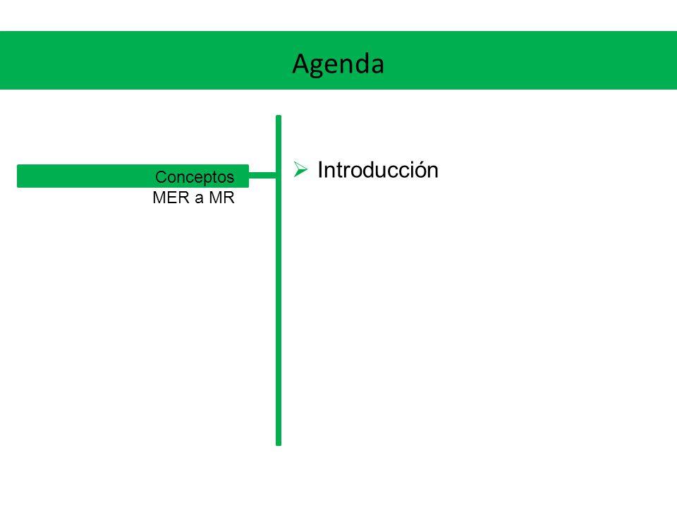 MER a MR Generalización / especialización Opción 1 Creamos una tabla para la entidad más general, como si fuera una entidad fuerte cualquiera Creamos una tabla para cada sub-entidad, con sus atributos, y propagamos la PK de la entidad más general Definimos las FKs desde las PKs de éstas últimas tablas, a la PK de la tabla que corresponde a la entidad más general