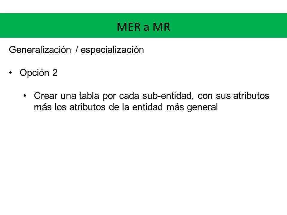 MER a MR Generalización / especialización Opción 2 Crear una tabla por cada sub-entidad, con sus atributos más los atributos de la entidad más general