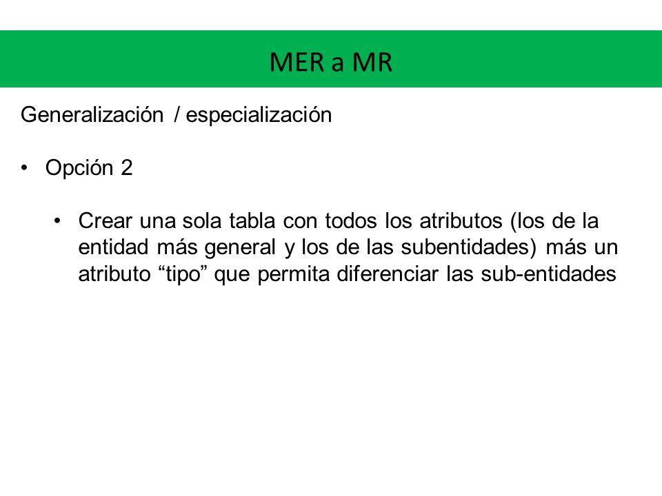 MER a MR Generalización / especialización Opción 2 Crear una sola tabla con todos los atributos (los de la entidad más general y los de las subentidades) más un atributo tipo que permita diferenciar las sub-entidades