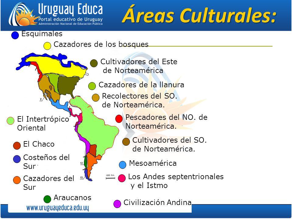Áreas Culturales: Esquimales Cazadores de los bosques Cultivadores del Este de Norteamérica Cazadores de la llanura Recolectores del SO. de Norteaméri