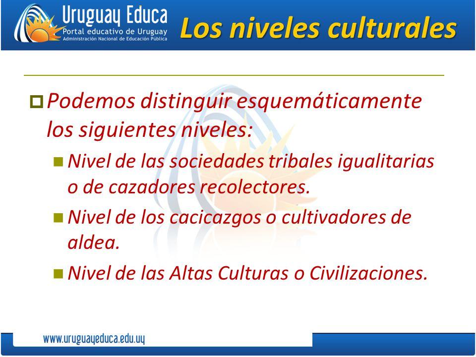 Los niveles culturales Podemos distinguir esquemáticamente los siguientes niveles: Nivel de las sociedades tribales igualitarias o de cazadores recole