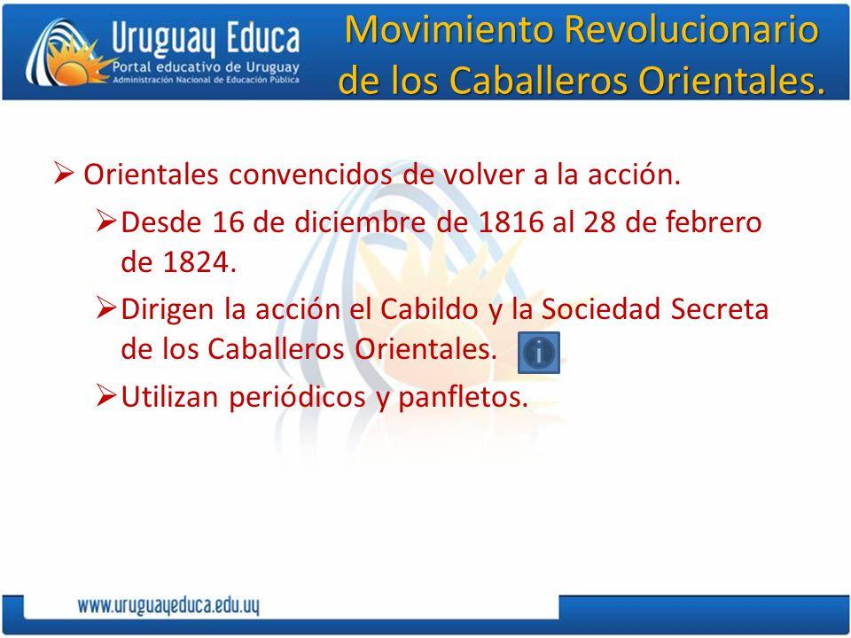 Movimiento Revolucionario de los Caballeros Orientales. Orientales convencidos de volver a la acción. Desde 16 de diciembre de 1816 al 28 de febrero d