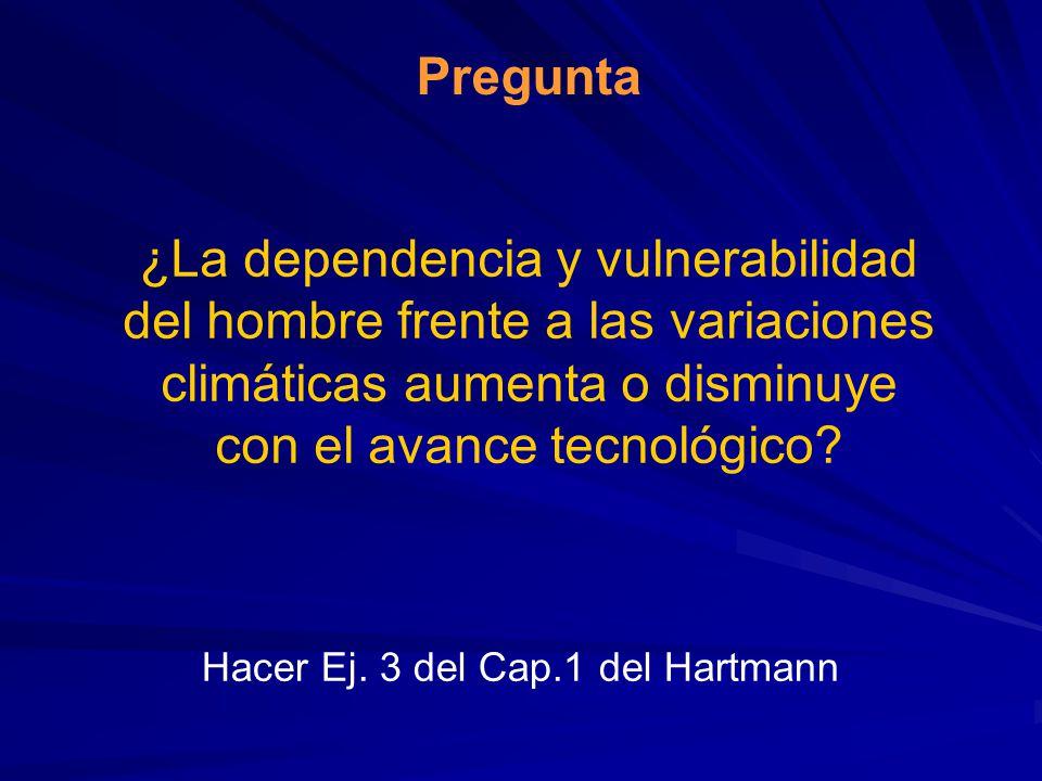 Pregunta ¿La dependencia y vulnerabilidad del hombre frente a las variaciones climáticas aumenta o disminuye con el avance tecnológico? Hacer Ej. 3 de