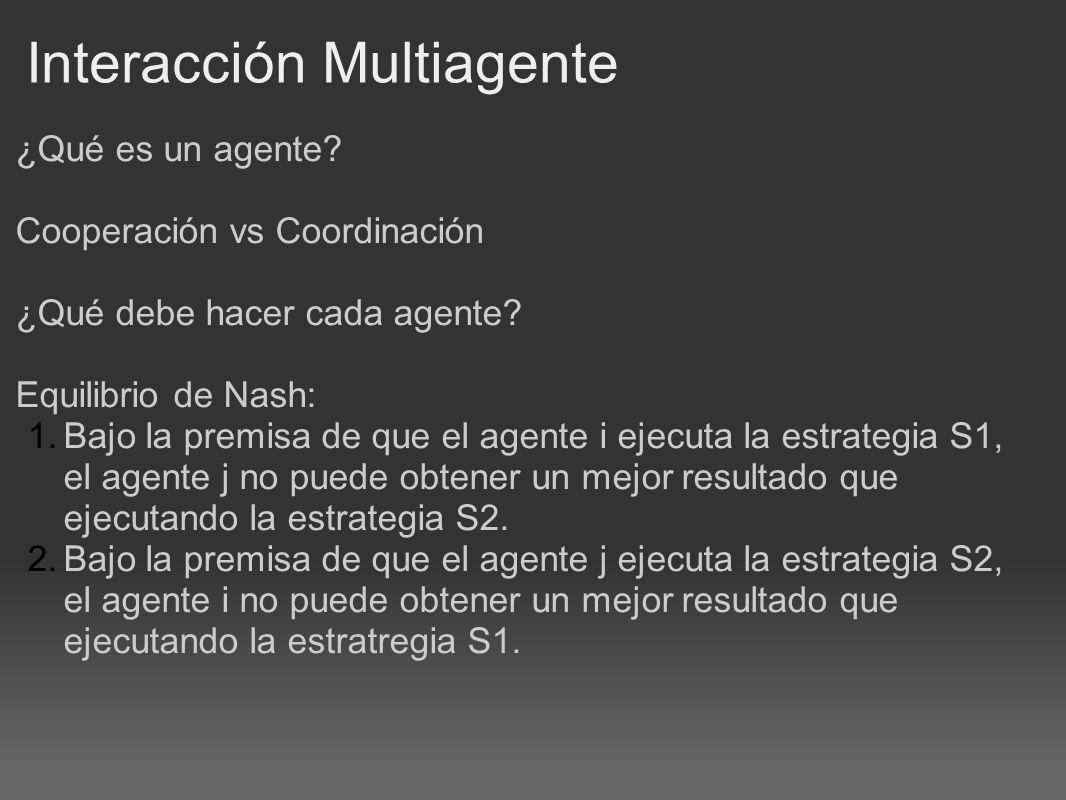 Interacción Multiagente ¿Qué es un agente. Cooperación vs Coordinación ¿Qué debe hacer cada agente.