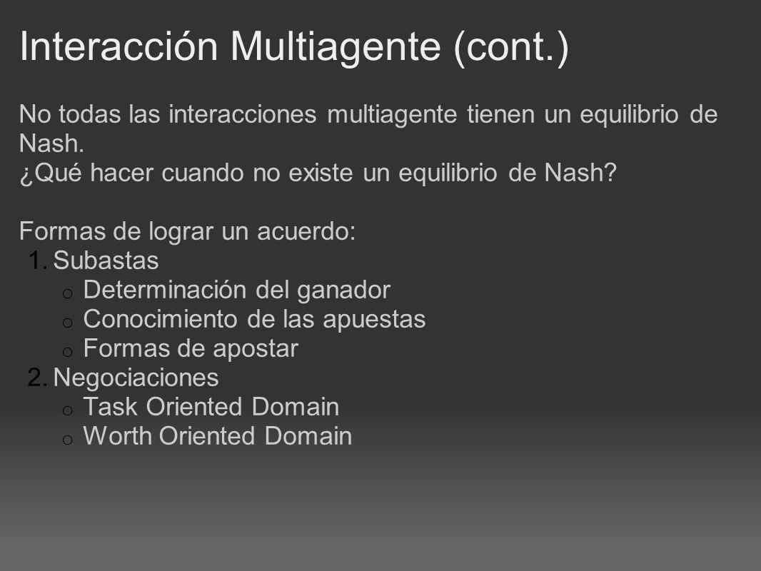 Interacción Multiagente (cont.) No todas las interacciones multiagente tienen un equilibrio de Nash.