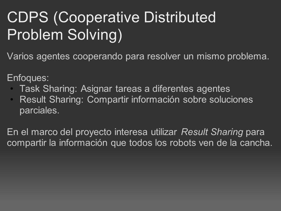 CDPS (Cooperative Distributed Problem Solving) Varios agentes cooperando para resolver un mismo problema.