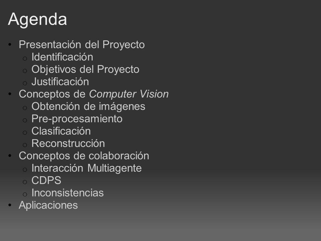 Agenda Presentación del Proyecto o Identificación o Objetivos del Proyecto o Justificación Conceptos de Computer Vision o Obtención de imágenes o Pre-procesamiento o Clasificación o Reconstrucción Conceptos de colaboración o Interacción Multiagente o CDPS o Inconsistencias Aplicaciones