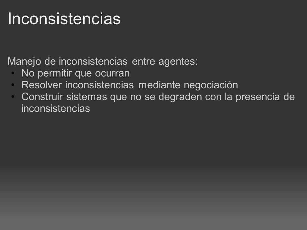 Inconsistencias Manejo de inconsistencias entre agentes: No permitir que ocurran Resolver inconsistencias mediante negociación Construir sistemas que no se degraden con la presencia de inconsistencias