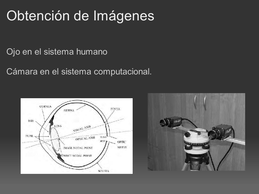 Obtención de Imágenes Ojo en el sistema humano Cámara en el sistema computacional.
