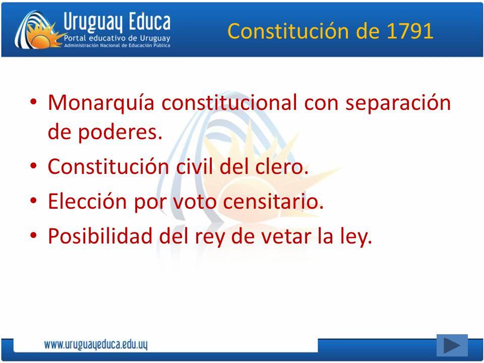 Constitución de 1791 Monarquía constitucional con separación de poderes. Constitución civil del clero. Elección por voto censitario. Posibilidad del r