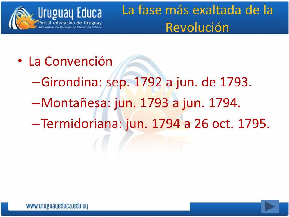La fase más exaltada de la Revolución La Convención – Girondina: sep. 1792 a jun. de 1793. – Montañesa: jun. 1793 a jun. 1794. – Termidoriana: jun. 17
