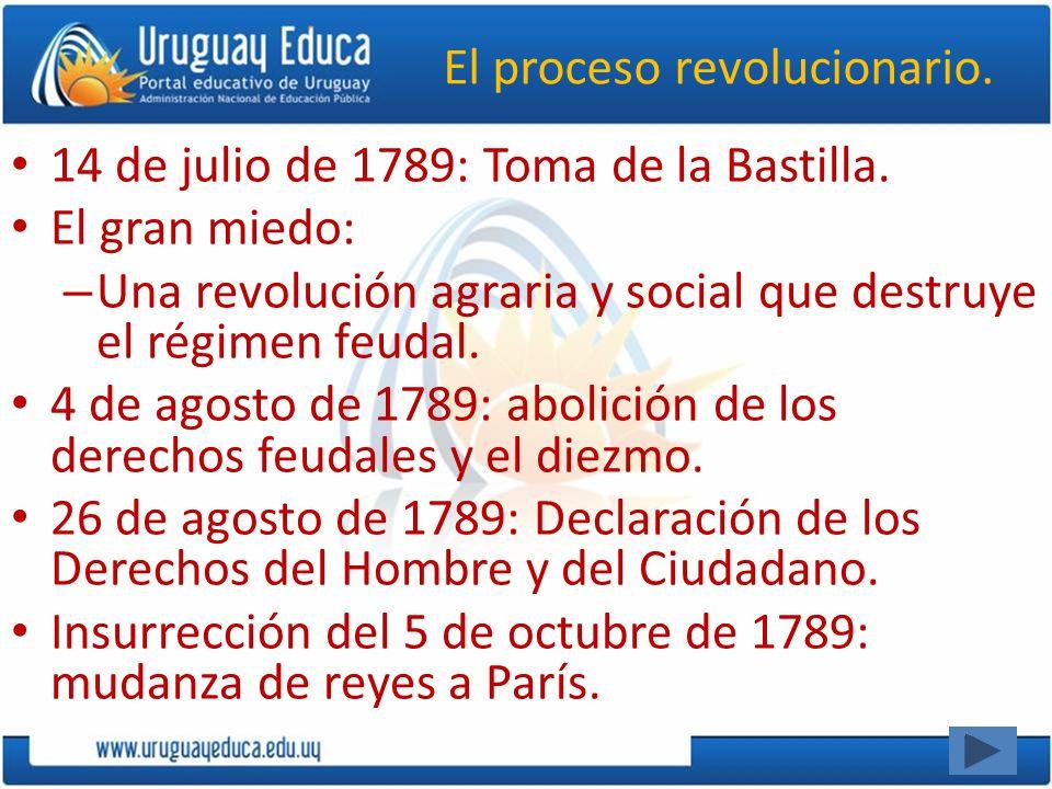 El proceso revolucionario. 14 de julio de 1789: Toma de la Bastilla. El gran miedo: – Una revolución agraria y social que destruye el régimen feudal.