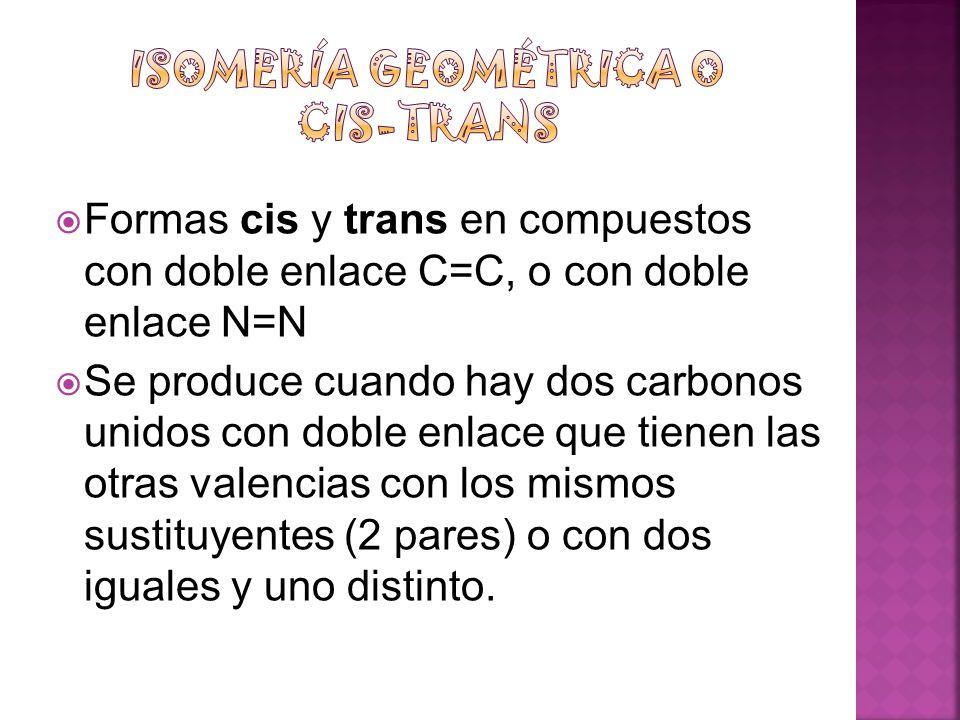 Formas cis y trans en compuestos con doble enlace C=C, o con doble enlace N=N Se produce cuando hay dos carbonos unidos con doble enlace que tienen la