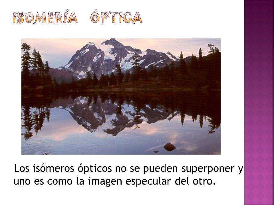 Los isómeros ópticos no se pueden superponer y uno es como la imagen especular del otro.