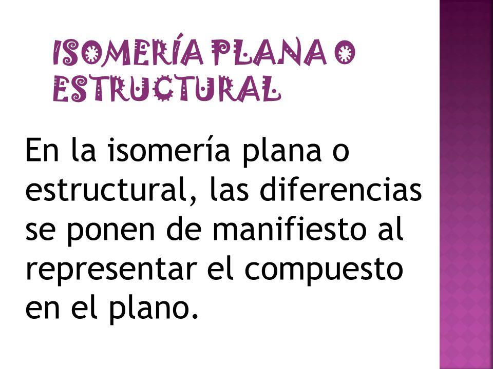 En la isomería plana o estructural, las diferencias se ponen de manifiesto al representar el compuesto en el plano. ISOMERÍA PLANA O ESTRUCTURAL