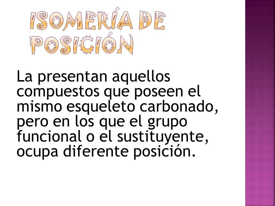 Presentan las mismas propiedades físicas y químicas pero se diferencian en que desvían el plano de la luz polarizada en diferente dirección: uno hacia la derecha (en orientación con las manecillas del reloj) y se representa con el signo (+)(isómero dextrógiro o forma dextro) y otro a la izquierda (en orientación contraria con las manecillas del reloj) y se representa con el signo (-) isómero levógiro (o forma levo).