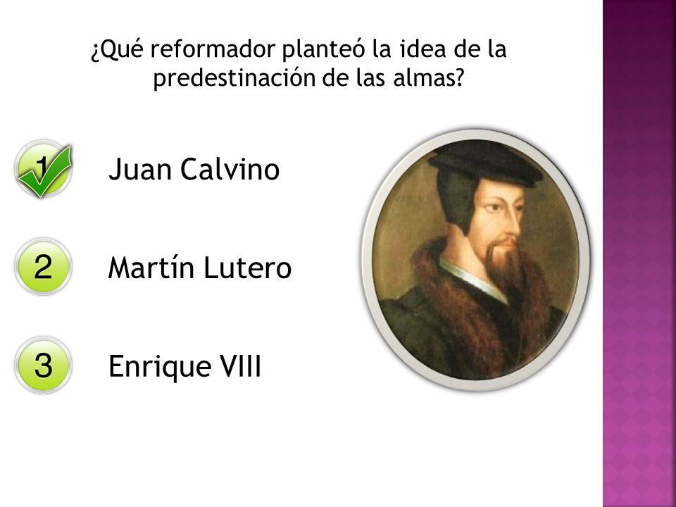 ¿Qué reformador planteó la idea de la predestinación de las almas? Juan Calvino Martín Lutero Enrique VIII