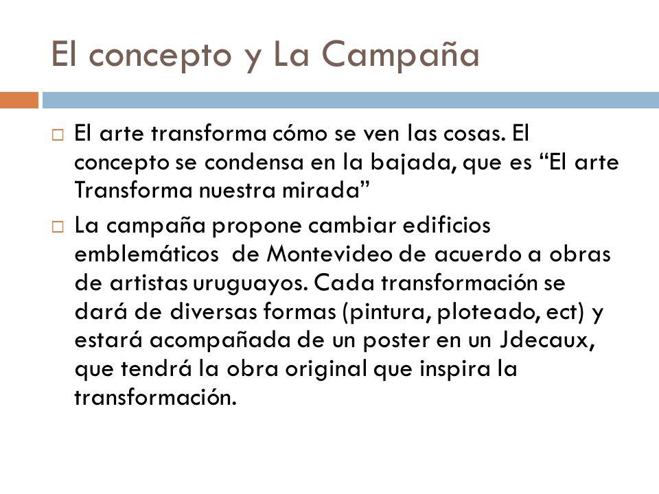 El concepto y La Campaña El arte transforma cómo se ven las cosas. El concepto se condensa en la bajada, que es El arte Transforma nuestra mirada La c
