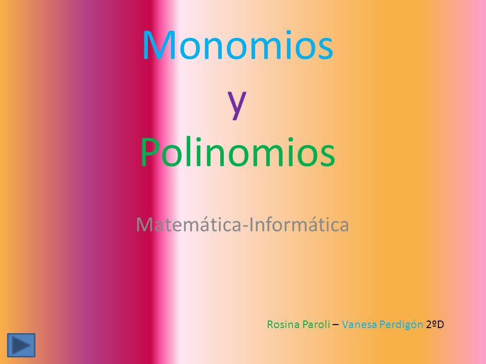 1.Monomios (coeficiente, parte literal, grado, REDUCCIÓN DE MONOMIOS).Monomios (coeficiente, parte literal, grado, REDUCCIÓN DE MONOMIOS) 2.Tipos de monomios (semejantes- opuestos).Tipos de monomios (semejantes- opuestos) 3.Reducción de monomios.Reducción de monomios 4.Multiplicación de monomios.Multiplicación de monomios 5.Polinomios (grado de un polinomio).Polinomios (grado de un polinomio) 6.Suma de polinomios.Suma de polinomios 7.Resta de polinomios.Resta de polinomios 8.Multiplicación de monomios por polinomios.Multiplicación de monomios por polinomios 9.Propiedad distributiva.Propiedad distributiva 10.Multiplicación de polinomios por polinomios.Multiplicación de polinomios por polinomios 11.Valor numérico de un monomio.Valor numérico de un monomio 12.Valor numérico de un polinomio.Valor numérico de un polinomio