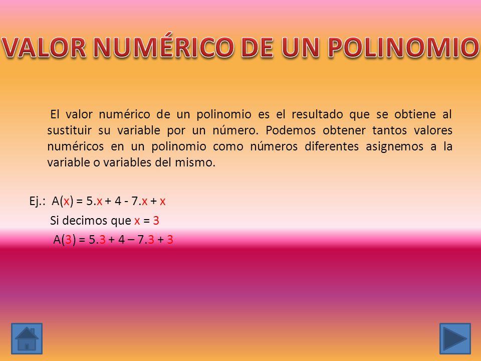 El valor numérico de un polinomio es el resultado que se obtiene al sustituir su variable por un número. Podemos obtener tantos valores numéricos en u