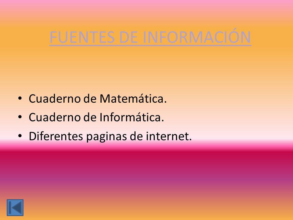 FUENTES DE INFORMACIÓN Cuaderno de Matemática. Cuaderno de Informática. Diferentes paginas de internet.