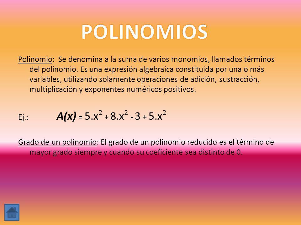 Polinomio: Se denomina a la suma de varios monomios, llamados términos del polinomio. Es una expresión algebraica constituida por una o más variables,