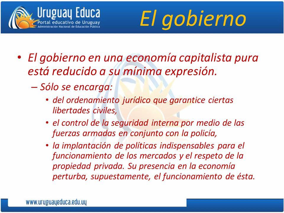 El gobierno El gobierno en una economía capitalista pura está reducido a su mínima expresión. – Sólo se encarga: del ordenamiento jurídico que garanti