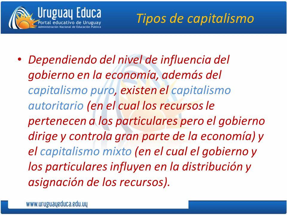Tipos de capitalismo Dependiendo del nivel de influencia del gobierno en la economía, además del capitalismo puro, existen el capitalismo autoritario