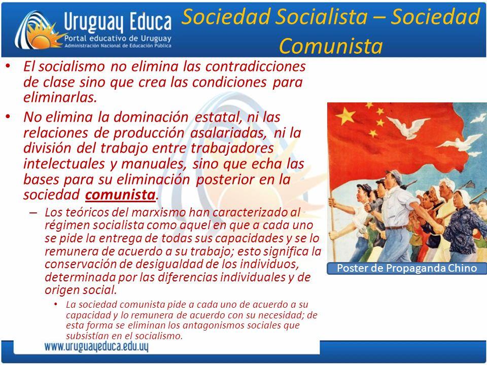 Sociedad Socialista – Sociedad Comunista El socialismo no elimina las contradicciones de clase sino que crea las condiciones para eliminarlas. No elim