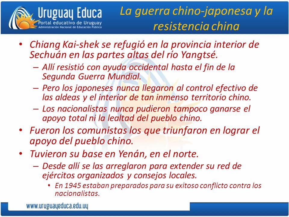 La guerra chino-japonesa y la resistencia china Chiang Kai-shek se refugió en la provincia interior de Sechuán en las partes altas del río Yangtsé. –