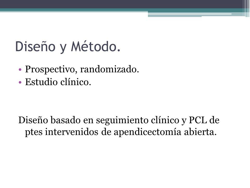 Diseño y Método. Prospectivo, randomizado. Estudio clínico. Diseño basado en seguimiento clínico y PCL de ptes intervenidos de apendicectomía abierta.