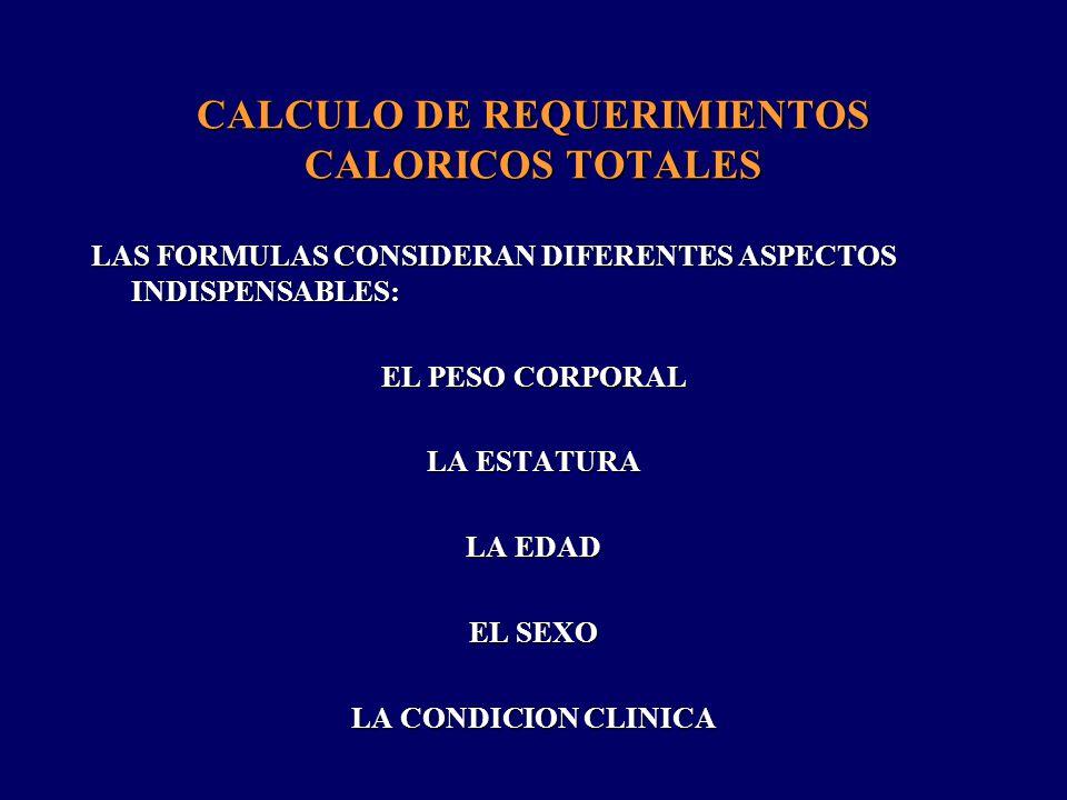 25 – 30 kcal/Kg/día _________________________________________________________________________ CHO Proteínas LIP NORMAL CATABÓLICO Proteínas LIP CHO