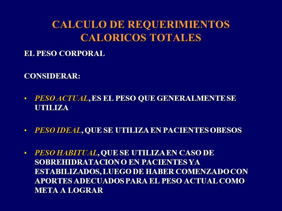CALCULO DE REQUERIMIENTOS PROTEICOS AL IGUAL QUE LOS REQUERIMIENTOS CALORICOS, LOS REQUERIMIENTOS PROTEICOS VARIAN SEGUN LA SITUACION CLINICA DE LAS PERSONASAL IGUAL QUE LOS REQUERIMIENTOS CALORICOS, LOS REQUERIMIENTOS PROTEICOS VARIAN SEGUN LA SITUACION CLINICA DE LAS PERSONAS POR DICHA RAZON DEBEN SER ESTIMADOS TOMANDO EN CUENTA EL PESO CORPORAL Y LA SITUACION CATABOLICAPOR DICHA RAZON DEBEN SER ESTIMADOS TOMANDO EN CUENTA EL PESO CORPORAL Y LA SITUACION CATABOLICA SIN STRESS : 0,8 g/kg peso * día SIN STRESS : 0,8 g/kg peso * día STRESS MODERADO : 1,0 A 1,2 g/kg peso * día STRESS MODERADO : 1,0 A 1,2 g/kg peso * día STRESS SEVERO : 1,5 A 2,0 g/kg peso * día STRESS SEVERO : 1,5 A 2,0 g/kg peso * día EL APORTE PROTEICO FORMA PARTE DEL MONTO TOTAL DE CALORIAS.