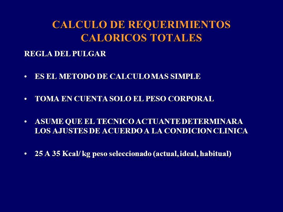 CALCULO DE REQUERIMIENTOS CALORICOS TOTALES HARRIS BENEDICT FORMULA COMPLEJA QUE ESTIMA EL GASTO METABOLICO BASAL Y QUE NECESITA DE AJUSTES PARA REPOSO Y CONDICION CLINICA (FACTOR DE STRESS).FORMULA COMPLEJA QUE ESTIMA EL GASTO METABOLICO BASAL Y QUE NECESITA DE AJUSTES PARA REPOSO Y CONDICION CLINICA (FACTOR DE STRESS).