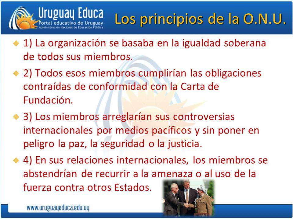 Los principios de la O.N.U. 1) La organización se basaba en la igualdad soberana de todos sus miembros. 2) Todos esos miembros cumplirían las obligaci