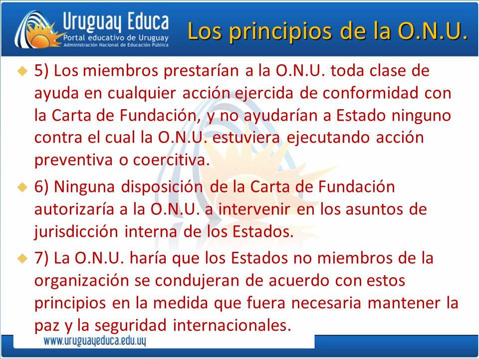 Los principios de la O.N.U. 5) Los miembros prestarían a la O.N.U. toda clase de ayuda en cualquier acción ejercida de conformidad con la Carta de Fun