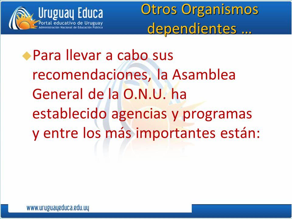 Otros Organismos dependientes … Para llevar a cabo sus recomendaciones, la Asamblea General de la O.N.U. ha establecido agencias y programas y entre l