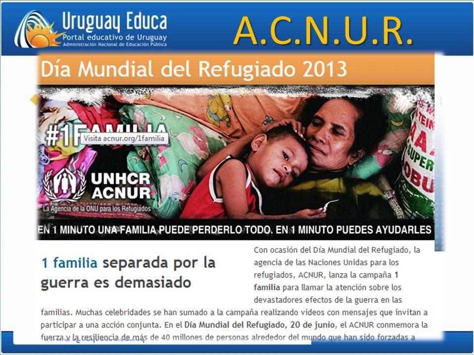 A.C.N.U.R. Alto Comisionado de las Naciones Unidas para los Refugiados.
