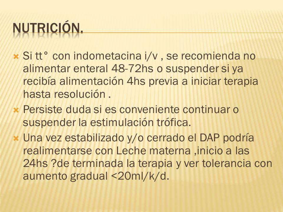 Individualizada, según edad gest., condición resp.,repercusión hemodinámica y consecuencias potenciales y riesgos de desarrollar DAP-PP Inhib.