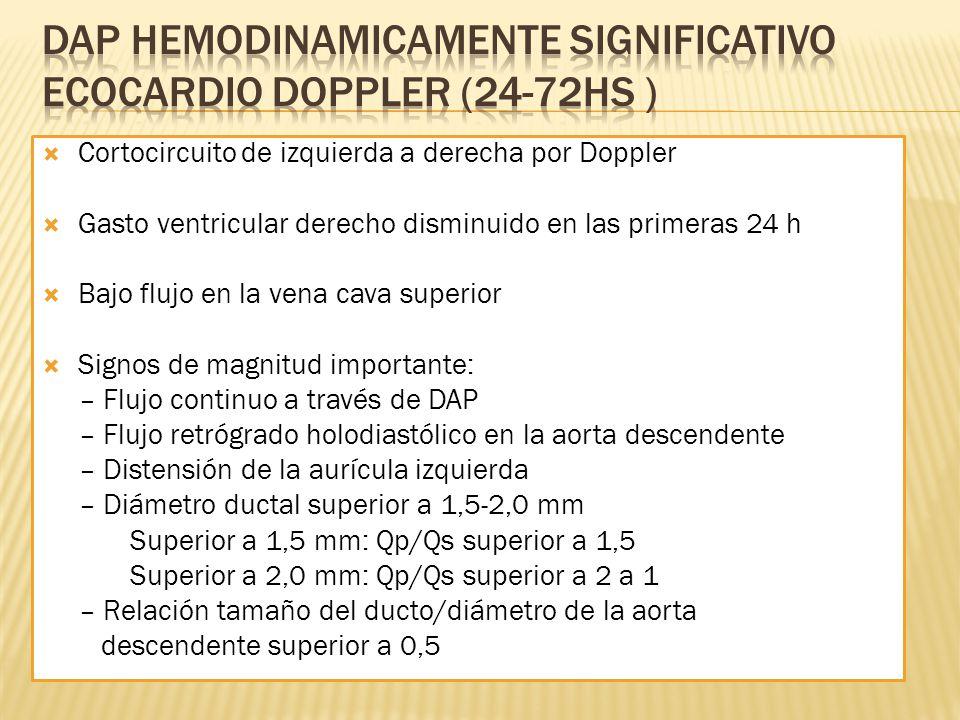 Hallazgos ecograficos PequeñoModeradoGrande Diametro DAP x doppler menor 1,5mm1,5 a 2mmMayor a 2mm AI/AOMenor a 1,41,4 a 1,6Mayor a 1,6 Fraccion de acortamiento Menor a 40%30 a 40%Menor 30%